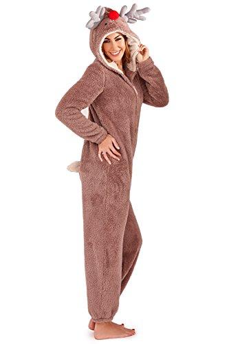 LD Outlet - Pigiama intero per donne e ragazze, maniche lunghe, in pile, con cappuccio, funge anche da accappatoio Renna. 40/42 IT