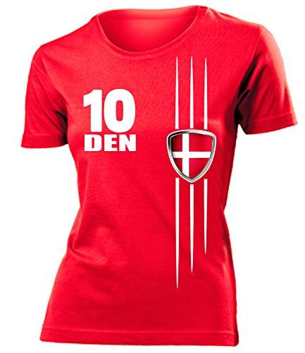 Dänemark Denmark Danmark Fan t Shirt Artikel 3219 Fuss Ball World Cup Jersey EM 2020 WM 2022 Trikot Look Flagge Fahne Team Frauen Damen Mädchen M
