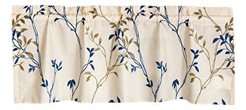 Tache Cotton Elegant Leaf Vine Nature Zen Earthy Floral Neutral Cream Beige Tan Blue Breathable Poplin Sheer Tailored Window Valance 18x52