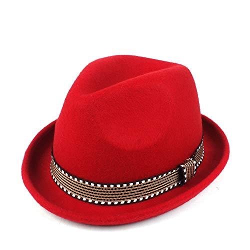 YUANBO WU Gentleman Cap Topper Sombrero de Copa Sombrero de ala Jazz Atractiva Mujer de Piel Sombrero Inteligente (Color : Rojo, Size : 56-58)
