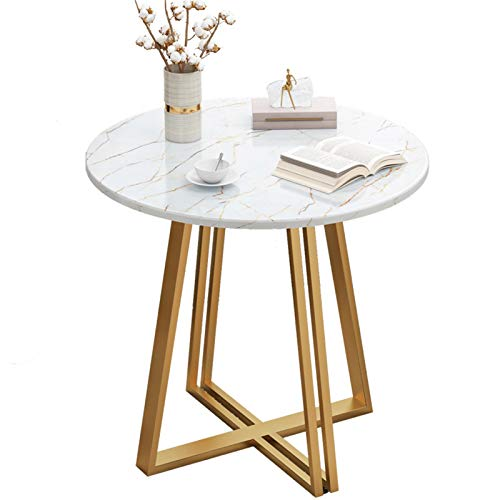 Yingm Home Decoration Golden Base Round Side Coffee Table Marble Top Modern Bedroom Night Living Room Popular Coffee Table (Colour: White, Size: 60 x 60 x 60 cm)