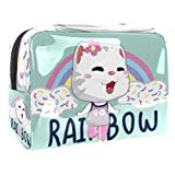 Bolsa de maquillaje portátil con cremallera bolsa de aseo de viaje para las mujeres práctico almacenamiento cosmético bolsa Rainbow Kitty
