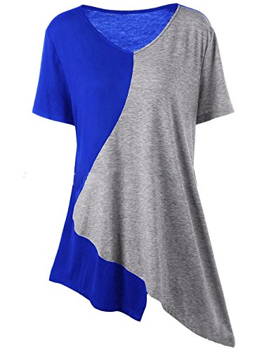 ELEKIKIL Damen Trendiger T-Shirt Patchwork Tops Sommer Baumwolle Locker Oberteile V Ausschnitt Kurzarm Bluse Asymmetrisch Saum Shirt Casual Blusen Große Größen