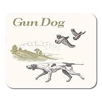 マウスパッド動物ウズラ犬狩猟銃ランドスケープレトロコレクションマウスマットマウスパッド