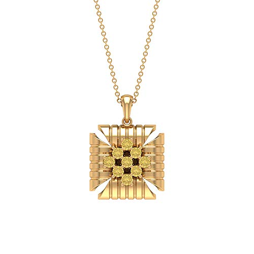 Unique Round 1/2 CT Certified Citrine Stackale Pendant, Women 14k Gold Engraved Charm Long Chain Drop Pendant, Daily Office Wear Necklace Gift,18K Rose Gold With Chain