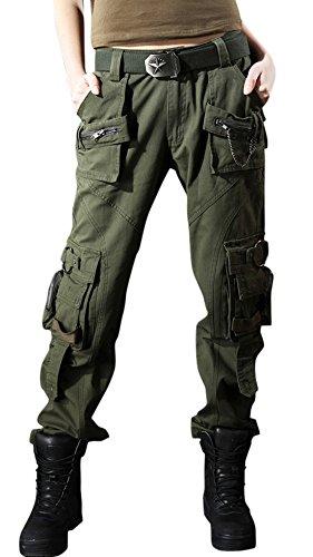chouyatou Women's Casual Loose Military Multi-Pocket Wild Ribstop Cargo Pant (Large, Army Green)