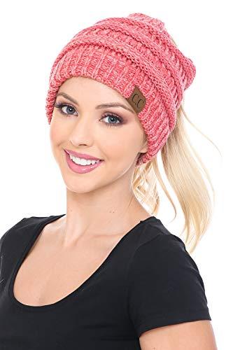 C.C BeanieTail Weiche Stretch-Mütze mit Zopfmuster - Pink - Einheitsgröße