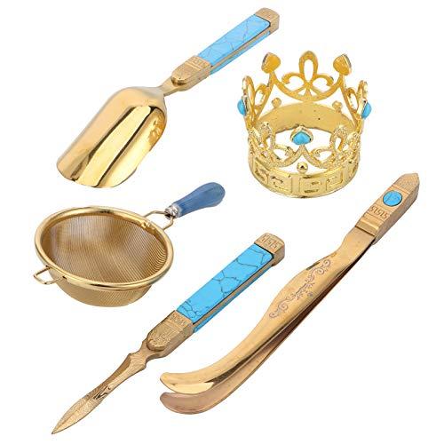 Herramientas para la ceremonia del té, aguja y cuchara para té, kit retro para la ceremonia del té, juego de té japonés, juego para la ceremonia del té dorado, para el hogar y la sala de té