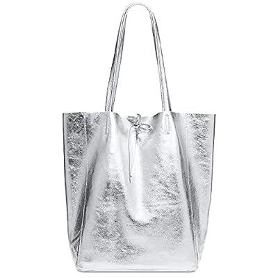 CASPAR TL781 Shopper Grande para Mujer/Bolso de Hombro A4 de Cuero Genuino Metalizado
