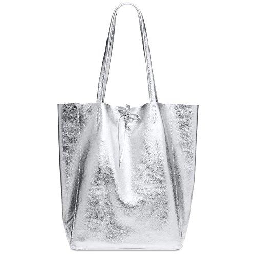 CASPAR TL781 großer Damen Metallic Leder Business Shopper, Farbe:silber metallic, Größe:One Size