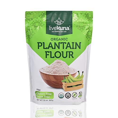 LiveKuna Organic Plantain Flour Pack |100% Natural Non-GMO Plantain Flour | Rich In Fiber & Vitamins | Gluten-Free All-Purpose Flour Alternative For Baking, Cooking, Keto & Paleo Diets | 32 oz