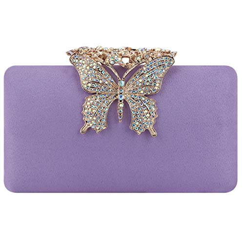 Fawziya Evening Bags Velvet Butterfly Clutch Purses For Women Wedding-Purple