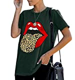 EasySmile Women Red Lip Leopard Tongue Tshirts Graphic Tee Funny Cute Trendy Casual Summer Girls Tops (Army Green, Small)