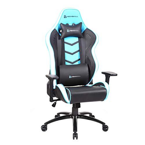 Newskill NS-CH-KAIDAN-BLUE Kaidan - Silla gaming profesional reforzada con estructura de metal (respaldo con mecanismo de mariposa reclinable en 180 grados, reposabrazos 3D) - Color Azul, mediano