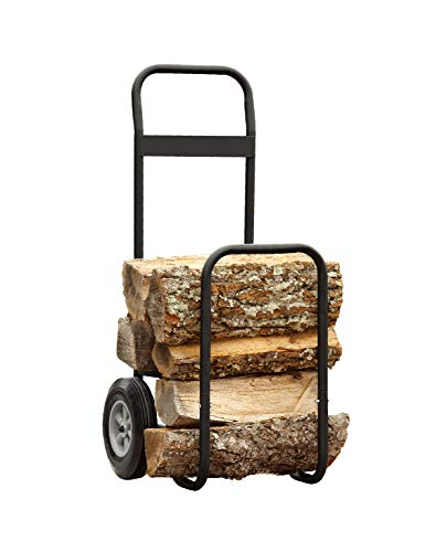 Fire Beauty Firewood Log Cart Carrier, Outdoor and Indoor Wood Rack Storage Mover, Rolling Dolly Hauler