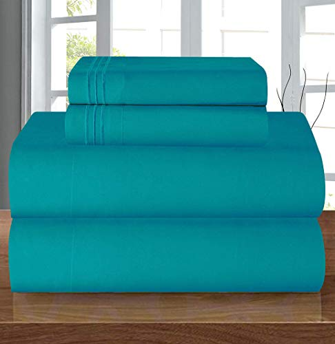 Elegant Comfort Luxury Soft 1500 Thread Count Egyptian 4-Piece Premium Hotel Quality Wrinkle Resistant Coziest Bedding Set, All Around Elastic Fitted Sheet, Deep Pocket up to 16inch, Queen, Turquoise