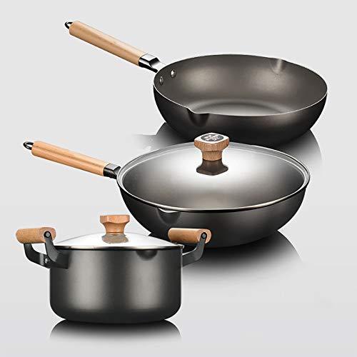 Juego de Utensilios de Cocina Antiadherentes de 3 Piezas con Tapas de Vidrio, Mango de Madera, Resistente al Calor y Fácil de Limpiar