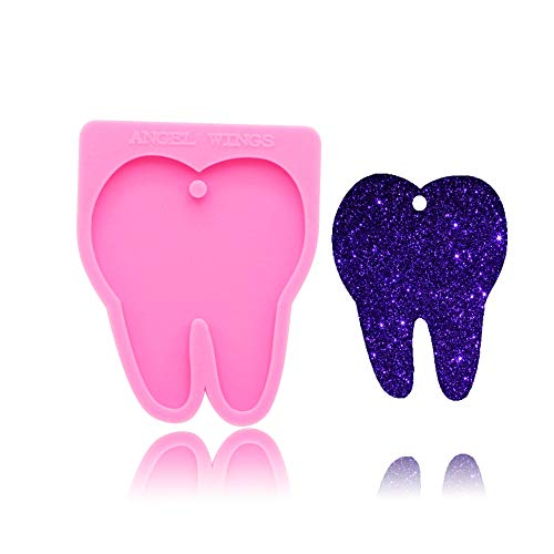 Dentists Doctor Medical Tooth Shaped Keychain Silicone Mold with Hole DIY Gum Paste Crystal Cupcake Cake Topper Decoration Fondant Mold Jelly Shots Ice Cream Candy Desserts Pudding