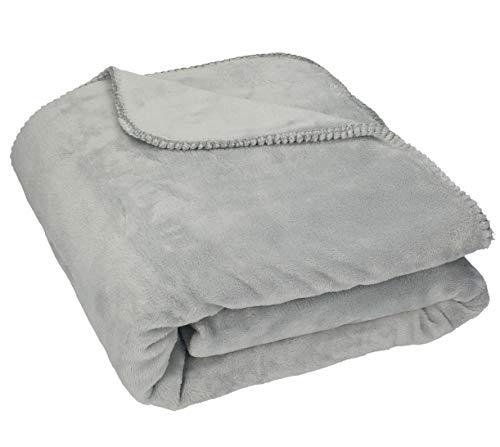 Betz Couverture très Douce Plaid Taille 150 x 200 cm Couleur Gris argenté