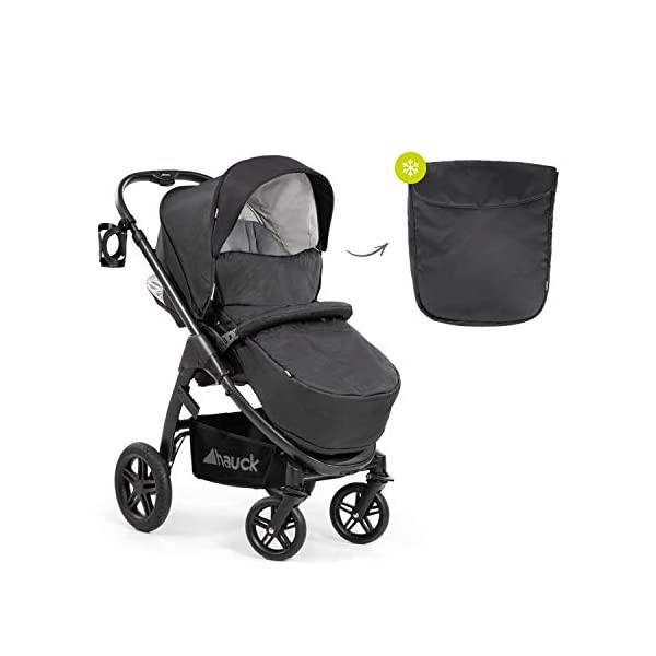 Hauck Hauck Unisex Promenade Chaises Black/Grey Hauck Maximum comfort: backrest and footrest adjustable to the lying position, extra large canopy, height adjustable handlebars, cup holders and foot covers All terrain: the stroller is suitable for both the city and the countryside thanks to the suspension, the high-quality rubber profile and the swivel and lockable front wheels. Swivel: The lightweight sports chair with removable front bar can be rotated towards parents or in moving direction easily in a few seconds. The chair supports a weight of up to 25 kg. 15