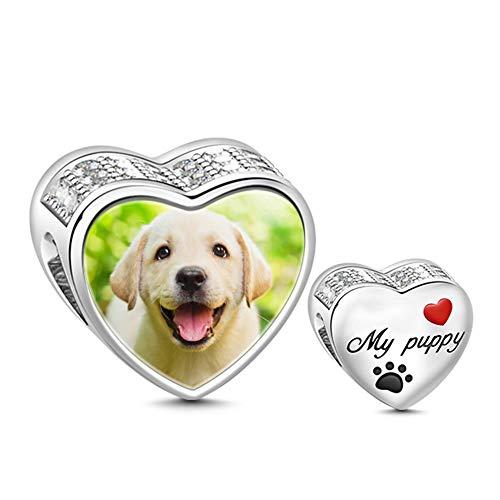 GNOCE Personalisiert Foto Charms Herz Pet Foto Charme S925 Charme fit für Armband und Halskette denkwürdiges Geschenk