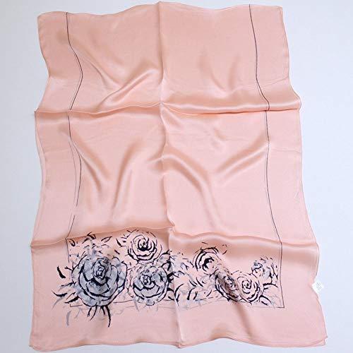 Xingling 100% Seide Pfingstrose Print Schal/Schal/Strand Sonnencreme, Anti-allergische Mode hochwertigen Schal 180 * 65 cm,BLCE-02