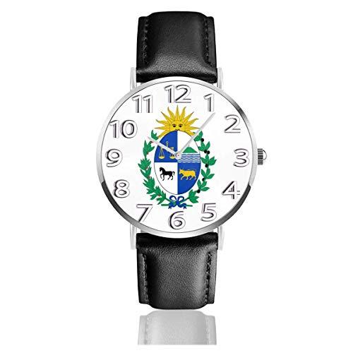 Reloj de Pulsera Reloj de Cuarzo Casual clásico Emblema Nacional de Uruguay Reloj de Correa de Cuero Negro Relojes de Negocios/Oficina/Trabajo/Escuela