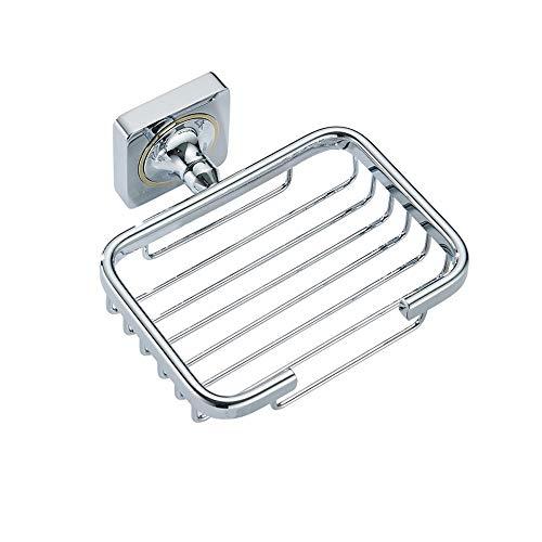 Ghelf Caja de jabón de cobre cromado simple de la manera,Estante de almacenamiento de jabón montado en la pared,Accesorios de baño de metal anticorrosión,Jabonera impermeable a prueba de humedad