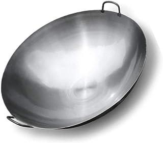 SHBV Woks antiadhésifs Woks en Fer Traditionnels Grands cuisinières à gaz en Fer antiadhésives Wok sûr 36cm 75cm pour Gril...