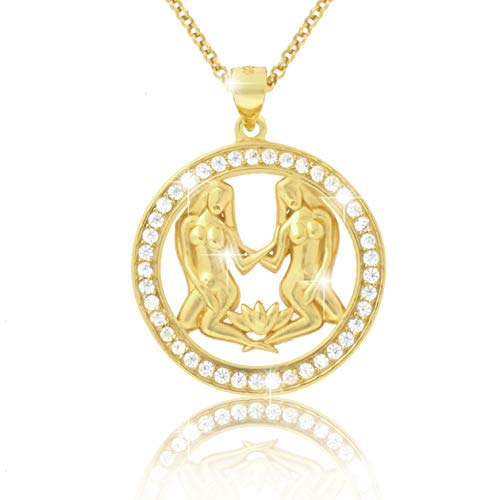 Paul Sternbeeld-ketting Zwillingen 18 karaat goud geplatteerd met glanzende zirkonia in AAA kwaliteit halsketting uit de collectie ECLIPSE incl. sieradendoos en certificaat van echtheid