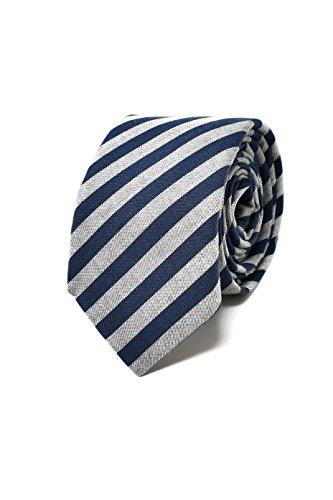Oxford Collection Cravate Homme à rayures Bleu et Gris - 100% en Lin - Classique, Elégante et Moderne - (Idéale pour un cadeau, un mariage, avec un co