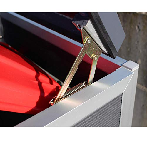 Prewood WPC Mülltonnenbox, Mülltonnenverkleidung für 2x 240l Mülltonne grau // 86x152x127 cm (LxBxH) // Gerätebox, Gartenbox & Mülltonneneinhausung - 4