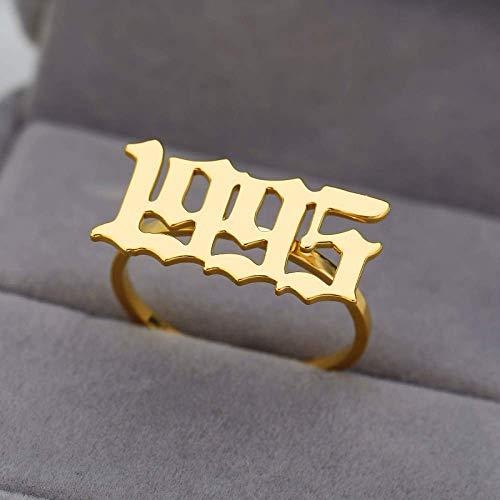 Anillo decorativo abierto para mujer, estilo vintage, ajustable, de acero inoxidable dorado, número de año de nacimiento, 1995, joyería para boda, compromiso, fiesta, mujer, hombre, pareja