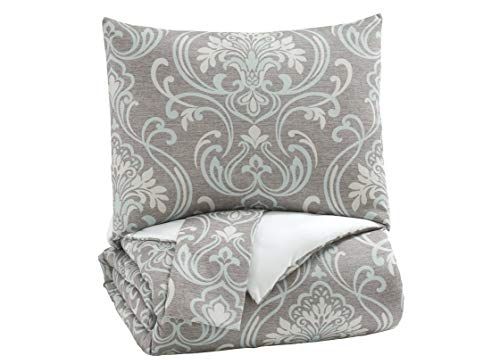 Signature Design by Ashley Noel Queen Comforter Set, (92' W X 96' Inches), Gray/Tan