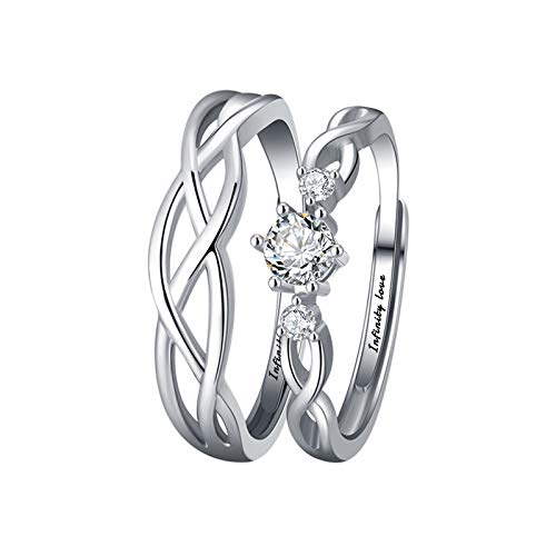 Aokarry 2Pcs Sterling Silver Couples Rings for Him and Her Set | Infinity Celtic Cubic Zirconia Infinity Love Rings for Men Women, Plain Adjustable Ring, Ideal
