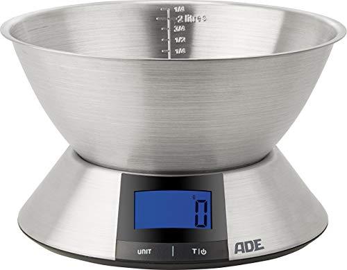 ADE Digitale Küchenwaage KE 1702 Hanna. Elektronische Schüsselwaage mit großer Schüssel aus Edelstahl (spülmaschinengeeignet) zum präzisen Wiegen bis 5 kg. Farbe: silber