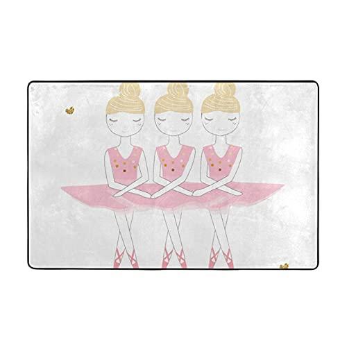 GAHAHA Alfombra de área de bailarinas Swanlakes lavable para habitación de los niños, alfombra de piso grande, antideslizante, transpirable, 152,4 x 99 cm