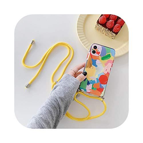 MEILLEUR Coque pour Iphone 11,Coque Bracelet Graffiti Coque pour Iphone 11 Pro Max X XS XR 7 8 Plus Se 2020 12 Mini Chaîne Colorée Couverture Arrière Souple-Case with Strap-for Iphone 12Pro