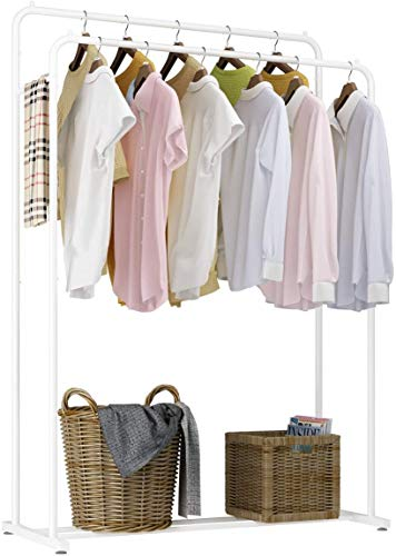 Rackaphile Clothes Rack Clothes Organizer Adjustable Double Rails Heavy Duty Garment Rack for Balcony and Bedroom White