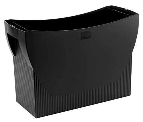 HAN Hängemappenbox SWING – praktische Box mit integriertem Stifteköcher für Mappen und Ordner, schwarz, 1900-13