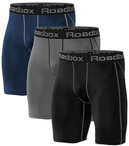Roadbox 3er Pack Herren Kompressionsshorts, Schnelltrocknendes Baselayer Unterhose Tights Kurz Hose Laufunterwäsche XL 3er Pack: Schwarz, Grau, Marineblau