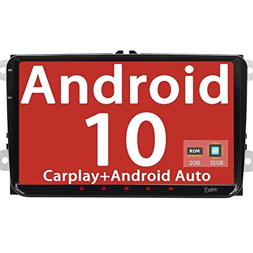 Android 10 [2G RAM 32GB ROM] stéréo de Voiture Double 2 DIN 9 pouce Quad Core BT écran Tactile capacitif Système de Navigation GPS WiFi FM RDS SWC OBD2 USB DAB+ pour VW
