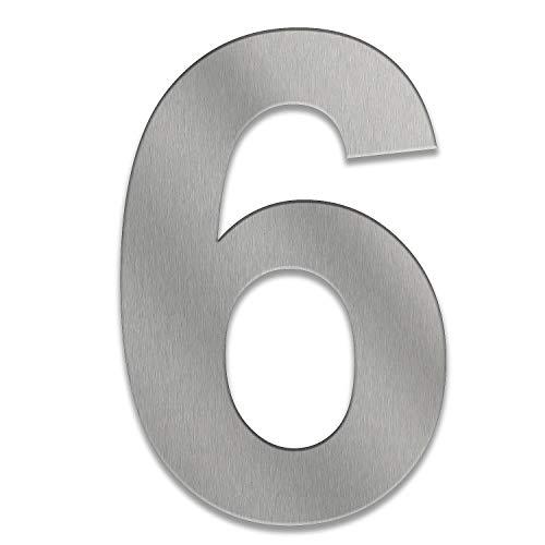 ZALAFINO Hausnummer aus Edelstahl in anthrazit - schwarz - DB703 - Edelstahl natur 0-9 und a-d - Größe konfigurierbar im XXL DESIGN Straight (20 cm, 6)