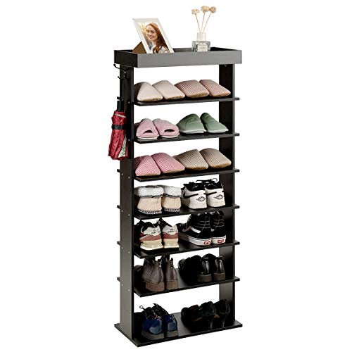 Tangkula 7-Tier Wooden Shoe Rack Space Saving Vertical Shoe Storage Shelves wHooks Extra Top Storage Entryway Shoes Storage Stand Multi Function Storage Shelf Black