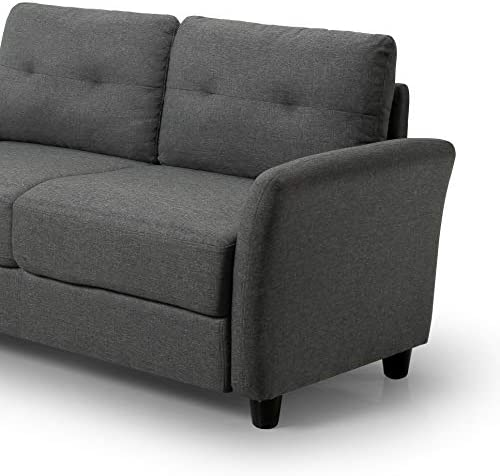 Best Zinus Ricardo Contemporary Upholstered 62.2 Inch Sofa Couch / Loveseat, Dark Grey