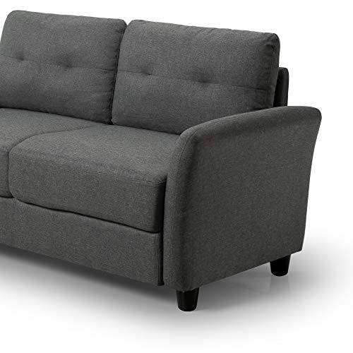 Zinus Contemporary Upholstered Love Seats, Loveseat, Dark Grey