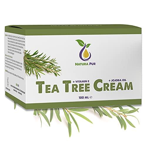 Teebaumöl Creme 100ml, vegan - NATURKOSMETIK zur Anwendung auf unreiner Haut, Hautentzündungen, Anti Pickel Creme, Akne Creme
