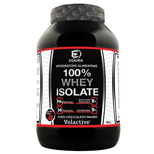 100% WHEY ISOLATE 900 g: è il miglior integratore creato nei nostri laboratori , a base di proteine del siero del latte isolate, di qualità certificata Volactive. (Cioccolato)