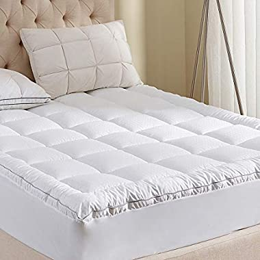 Mattress Pad California King Size 400TC Cotton Top 3M Water Resistant Hypoallergenic-69oz Down Alternative Filling Pillowtop Mattress Topper Cover-Fitted Quilted 8-21 Inch Deep Pocket