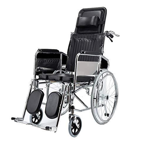 SYTH Rollstühle mit Selbstantrieb,Toilettenstühle Pflegerollstuhl mit Liegefunktion,Beinstütze, Kopfstütze, Sitzbreite 45 cm,Duschrollstuhl Toilettenstuhl für Erwachsene, Behinderte, ältere Menschen